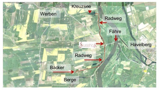 Wichtige Punkte der entfernteren Umgebung des Flusshofs auf einer Karte markiert.