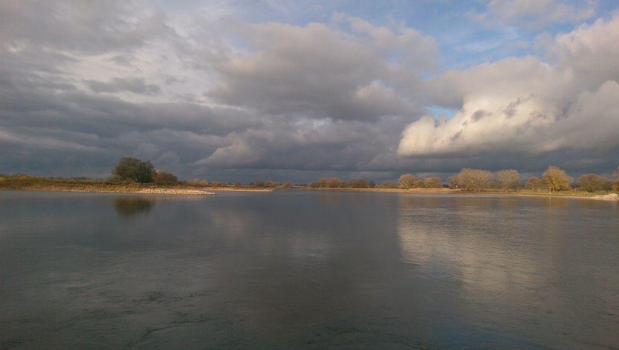 Die Elbe, in der Nähe des Flusshofs, in herbstlicher Stimmung.