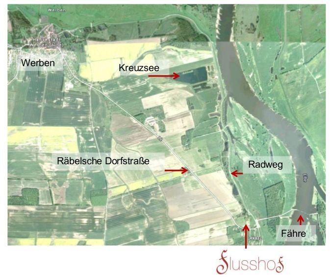 Wichtige Punkte der Umgebung des Flusshofs auf einer Karte markiert.